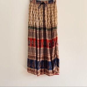 Vintage 90s Boho Rayon Maxi Skirt Made in India